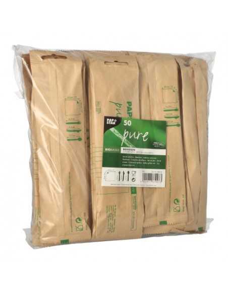 Set cubiertos de madera completo con servilleta envueltos papel