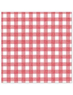Servilletas de papel cuadro vichy rojo blanco Royal Collection 40 x 40 cm