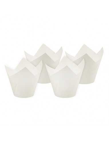 Cápsulas magdalenas papel blanco forma tulipa Ø 5 x 8,5 cm