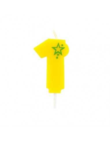 Velas de cumpleaños número 1 mini color amarillo 6,8 cm