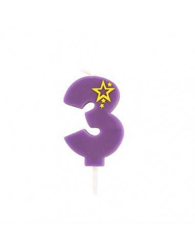 Velas de cumpleaños número 3 mini color violeta 6,8 cm