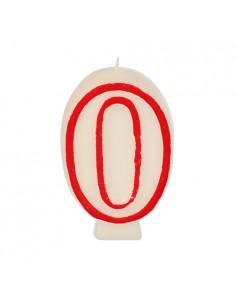 Vela cumpleaños número 0 color blanco borde rojo pastelería 7,3 cm