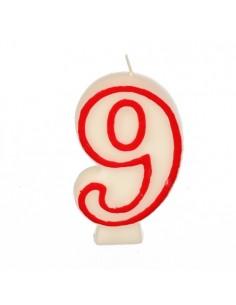 Vela cumpleaños número 9 color blanco borde rojo pastelería 7,3 cm