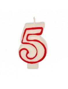 Vela cumpleaños número 5 color blanco borde rojo pastelería 7,3 cm