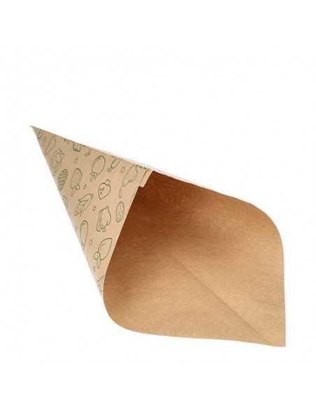 Bolsas cónicas de papel impresas fruta / verdura marrón 750gr