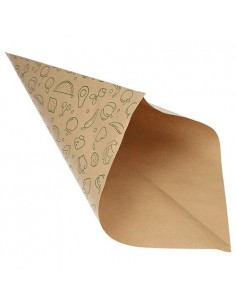 Bolsas cónicas de papel impresas frutería marrón 1500gr
