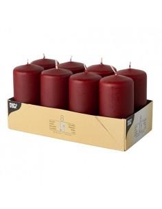 Velas de taco decorativas color burdeos Ø 50 x 100mm