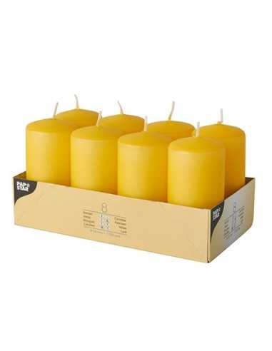 Velas de taco decorativas color amarillo Ø 50 x 100mm