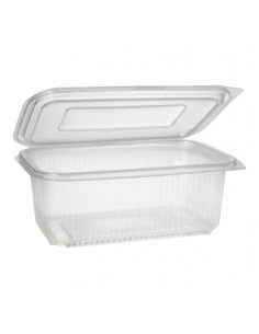 Envases plástico transparente con tapa rectangulares 1000 ml
