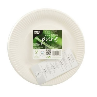 "Platosd e cartón ""Pure"". Diámetro 23 cm. Papstar. 11185"