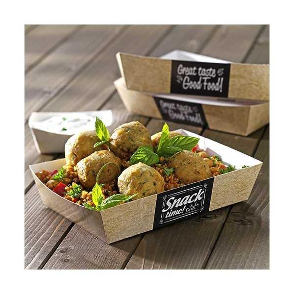 Bandejas aperitivos fritos cartón decorado Good Food Pure 16,5 x 8,5 cm