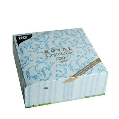 Servilletas de papel decoradas Royal Colection azul turquesa 40 x 40 cm Damascato