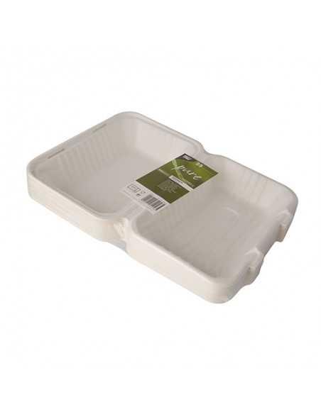 Envases comida compostables con tapa caña azúcar blanco