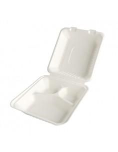 25 Envases Comida Caña Azúcar Tapa Bisagra 3 Compartimentos 20 x 22 x 7,7cm Pure 88032