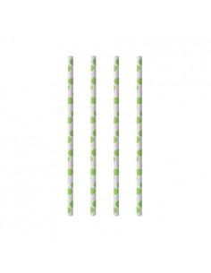 Cañitas de papel rígidas con lunares verde blanco Ø 6mm x 20 cm