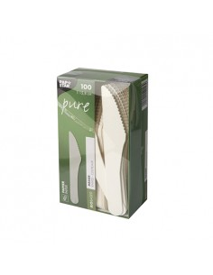 Cuchillos de papel compostables color blanco 15,8cm Pure