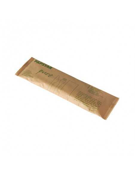 Set cubiertos madera envueltos 2 piezas y servilleta papel