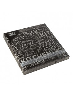 20 Servilletas Papel Decoradas Kitchen Negro 33 x 33cm