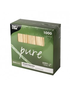 Removedores café redondos madera bambú largos 15 cm pure