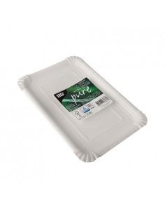 6 Bandejas Cartón Fibra Fresca Pure Color Blanco 16,5 x 23 cm