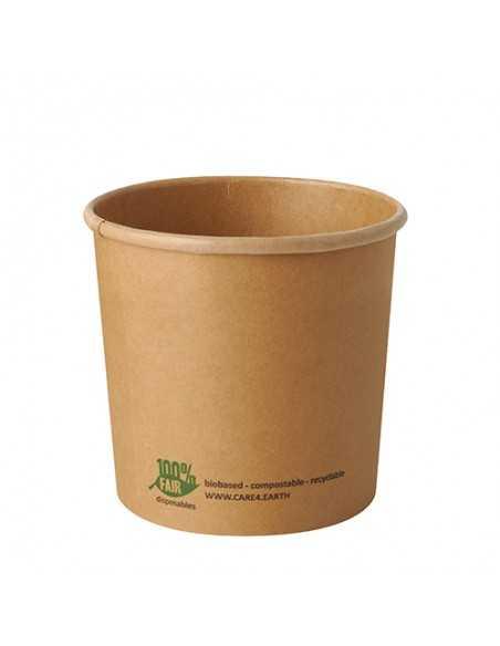 Soperas de cartón compostables color marrón 760ml Pure 100% Fair