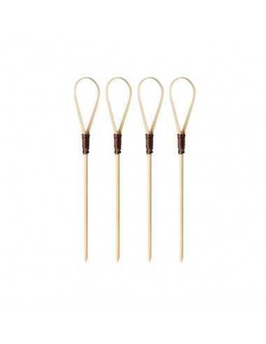 40 Pinchos de Bambú de 10cm Modelo Loop