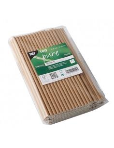 Cañitas de papel rígidas marrón natural Pure 20cm x Ø 6mm