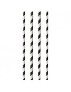 Cañitas de papel rayadas negro blanco Ø 6mm x 29 cm