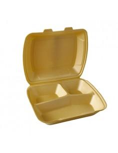 100 Envases Tapa Bisagra EPS 3 Compartimentos 24,3 x 20,8x 7,5cm Color Oro Papstar 90099
