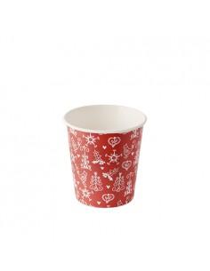 Vasos para café cartón decorado navidad blanco rojo 100 ml