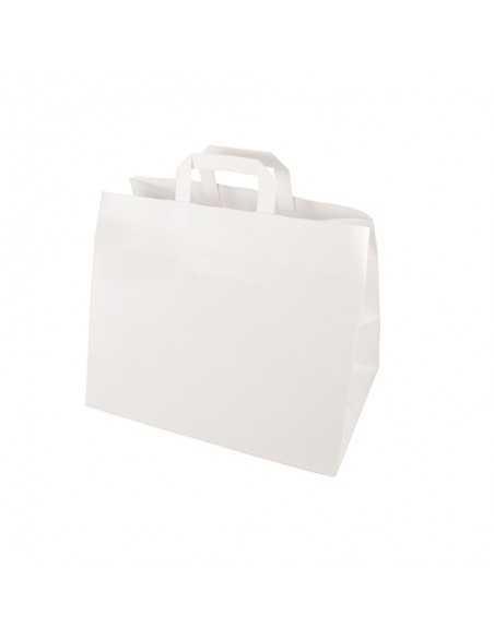 50 Bolsas de Papel Con Asa Blancas 27 x 32 x 17cm Papstar 86450