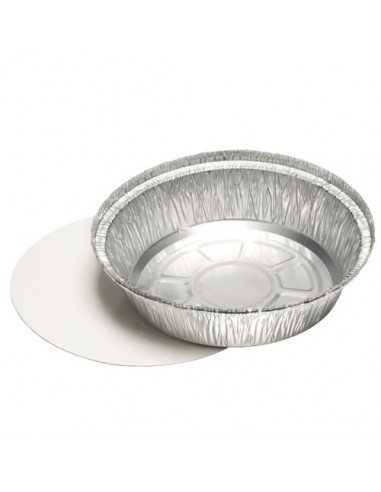 Bandejas de aluminio redondas con tapa cartón blanco laminado 770ml