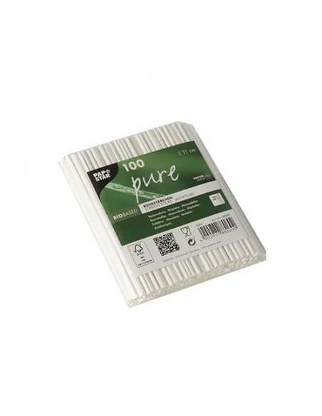 100 Removedores de Papel Pure 11cm Color Blanco Papstar Pure