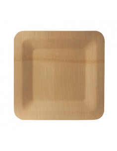 Platos cuadrados de bambú compostables 23 x 23 cm Pure