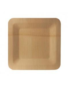 10 Platos de Bambú Pure Cuadrados 23 x 23 x 1,5cm