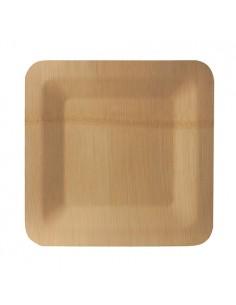 Platos madera bambú cuadrados 25,5 x 25,5 cm Pure
