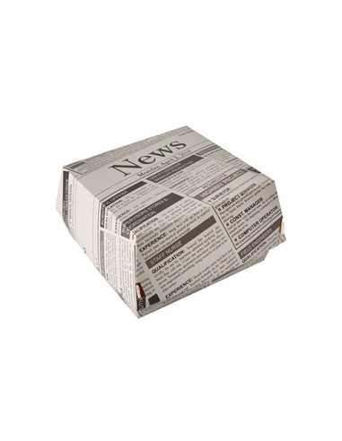 Cajas hamburguesa cartón decoración Newsprint 12,5 x 12,5 cm