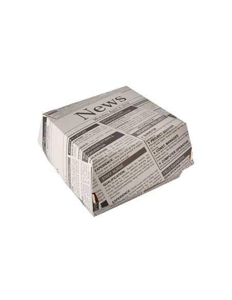Cajas Hamburguesa Cartón Fibra Fresca Newsprint 12,5 x 12,5 cm