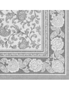 50 Servilletas 40 x 40 cm Color Gris Royal Collection Ornaments