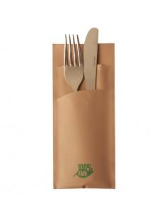 Fundas cubiertos papel marrón con servilleta 20x 8,5cm