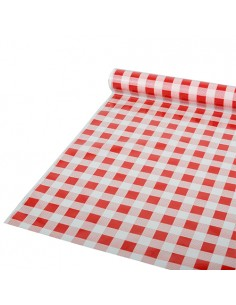 Rollo Mantel de Plástico Cuadros Rojo Blanco 50 m x 80 cm Papstar 88161