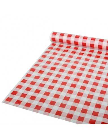 Rollo mantel de plástico cuadro vichy rojo blanco 50m x 80cm