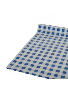 Rollo mantel de plástico cuadros vichy azul blanco 50m x 80cm