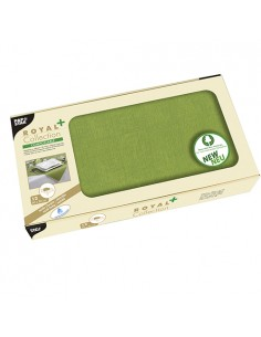 Manteles papel aspecto tela individuales color verde oliva Royal Collection Plus 80 x 80 cm