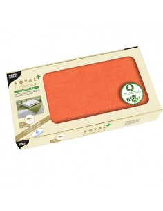 Manteles papel aspecto tela individuales color naranja Royal Collection Plus 80 x 80 cm
