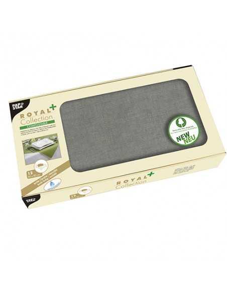 Manteles papel aspecto tela individuales color gris Royal Collection Plus 80 x 80 cm