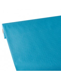 Mantel papel aspecto tela azul turquesa Soft Selection Plus 25 x 1,18 m