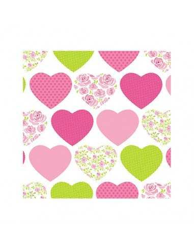 20 Servilletas de Papel Decoradas Sweetheart Rosa 25 x 25cm