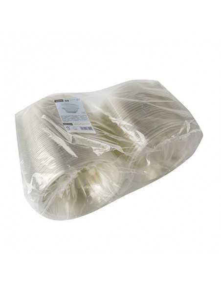 Envases plástico reciclado con tapa bisagra transparente 500 ml