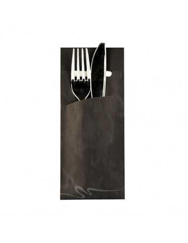 520 Funda Cubiertos Papel Negro Con Servilleta 20 x 8,5cm